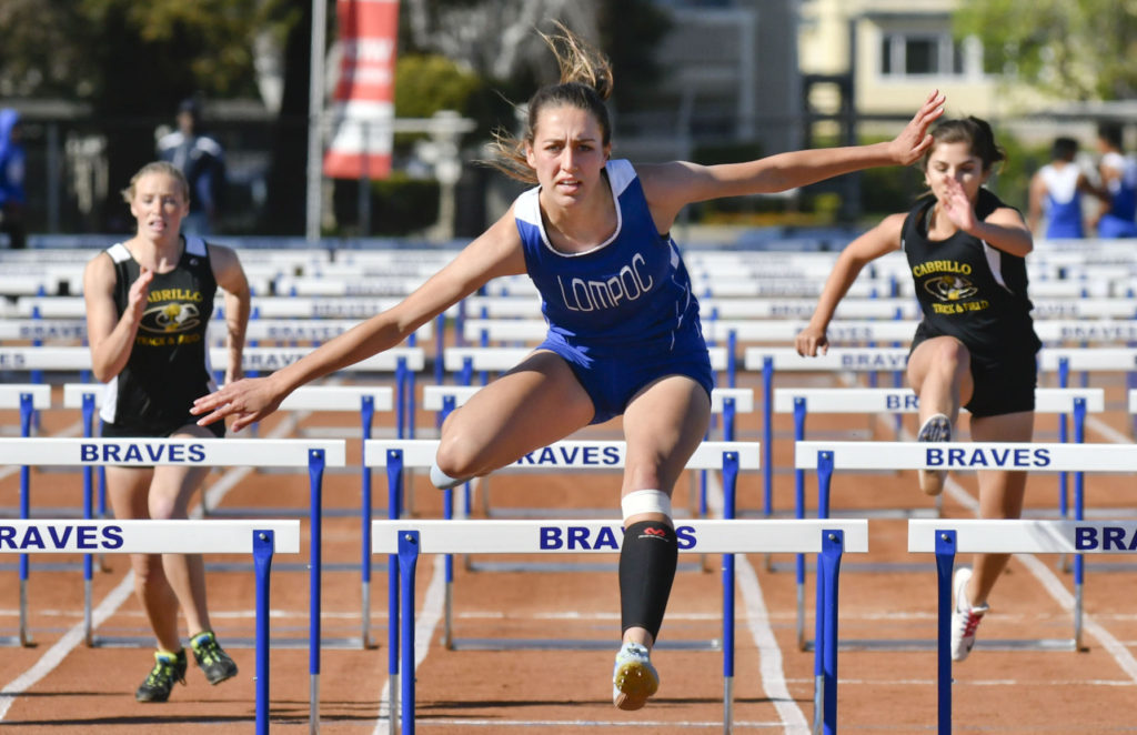 Kylie Yanez wins the 100 meter hurdles during the Los Padres League track and field meet, 2017.
