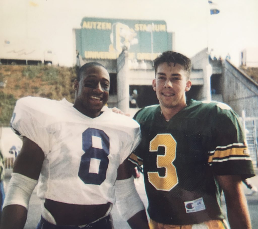 Napoleon Kaufman and Tommy Thompson - teammates at Lompoc High School. They playedagainst each other at University of Washington and University of Oregon. They also played against one another in the NFL on the Raiders and 49ers. They were CIF champs as well!