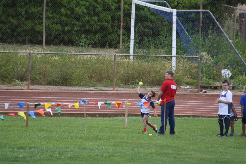 Lorenzo Gonzales representing the Central Coast All-Stars Track Club in the Baseball Throw at the 2016 Lompoc Kiwanis Track Meet. Photo submitted by Kari Campbell-Bohard.