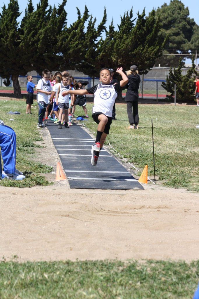 Kyren Wright representing the Central Coast All-Stars Track Club in the Long Jump at the 2016 Lompoc Kiwanis Track Meet. Photo submitted by Kari Campbell-Bohard.
