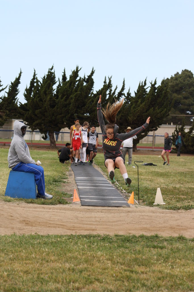 Marina Grossini representing the Central Coast All-Stars Track Club in the Long Jump at the 2016 Lompoc Kiwanis Track Meet. Photo submitted by Kari Campbell-Bohard.