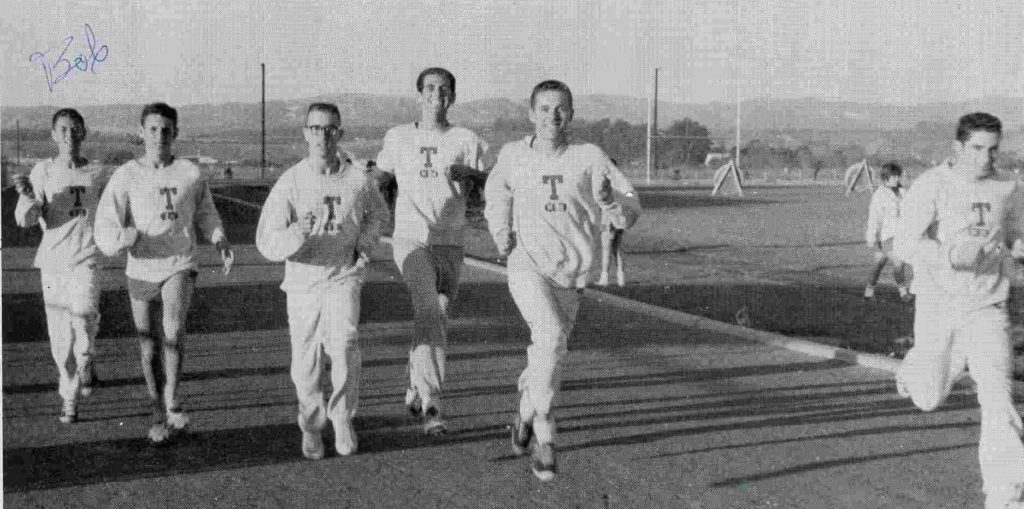 Varsity harriers at Huyck Stadium - from left, Marvin Alexander, Hardold Palmer, Rick Wright, Ken Main, Jim Morgan, and Bob Illman. From the 1963-1965 Lompoc High School yearbook, submitted by Karen Paaske of the Lompoc Valley Historical Society.