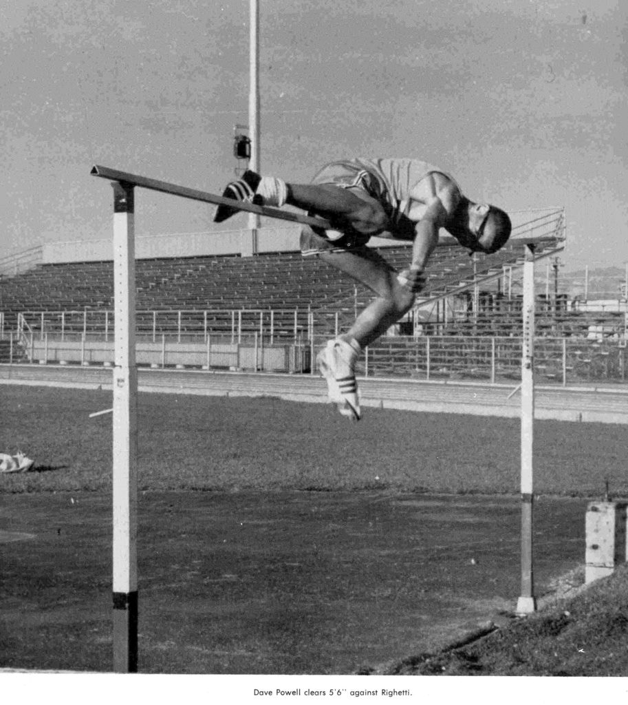 "Dave Powell clears 5'6"" against Righetti at Huyck Stadium. From the 1963-1965 Lompoc High School yearbook, submitted by Karen Paaske of the Lompoc Valley Historical Society."